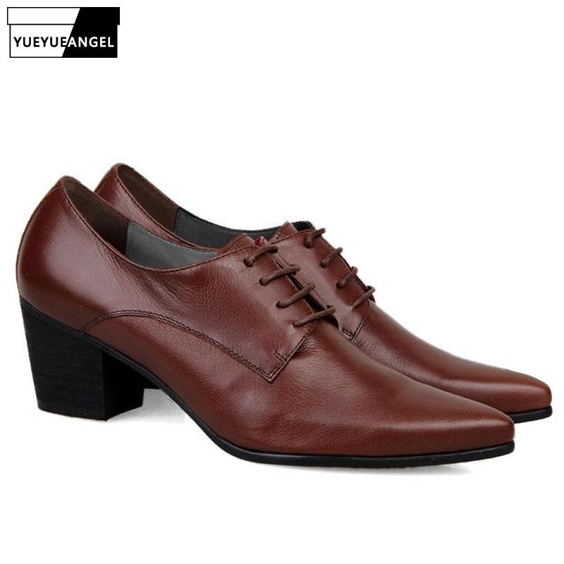 Mens Pointed Metal Toe Genuine Leather Buckle Dress Formal Cuban Shoes Business