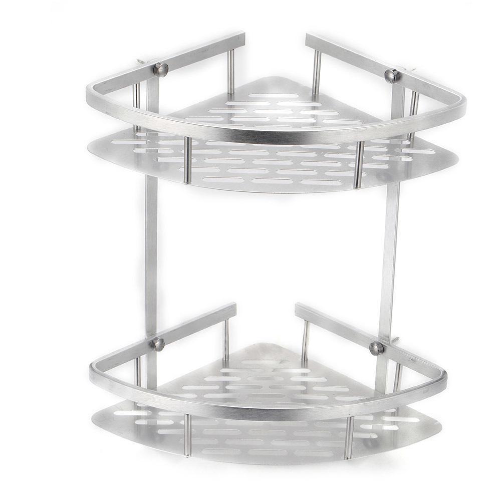 For Shampoo Soap Cosmetic Basket Holder Hot Sale 2 Layer Bathroom Corner Shower Shelf Aluminum Triangular Rack Storage Organizer Q190529