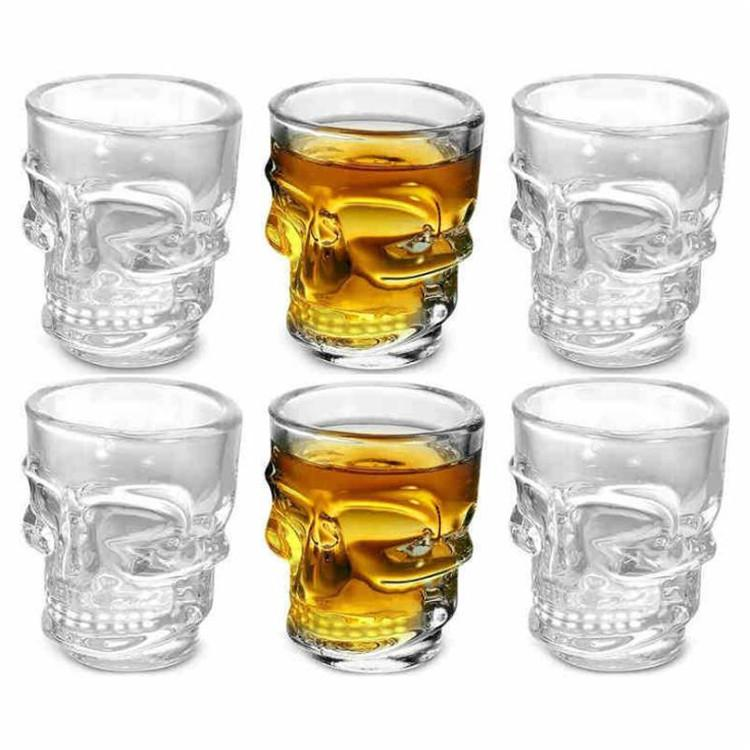 새로운 스타일의 창조적 인 크리스탈 해골 헤드 와인 컵 해골 해적 맥주 유리 머그잔 투명 유리 마시는 컵 파티 작은 선물 T9I00117