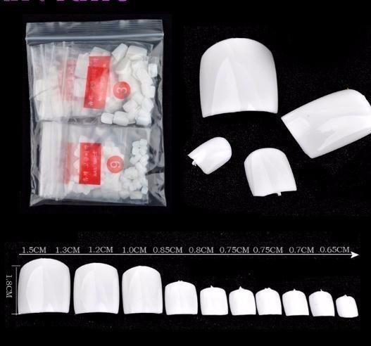 500 pcs Artificial Falso Toe Unhas Dicas Para A Decoração Da Arte Pé Manicure Ferramentas de Beleza Natural / claro / branco Falso Prego