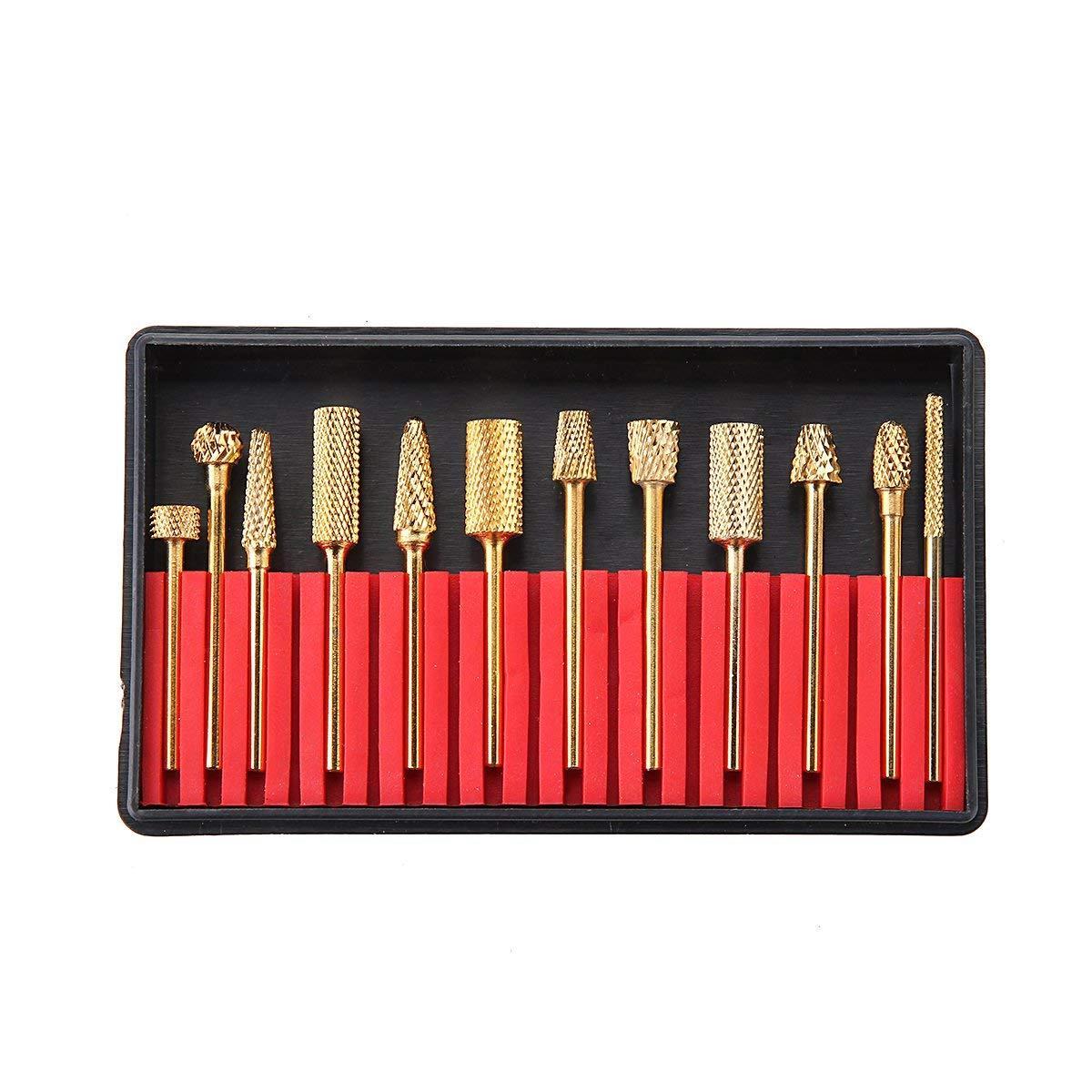 """VamsLuna 12шт золото карбид ногтей сверло набор профессиональных бит инструменты 3/32"""" с футляром для хранения держатель"""