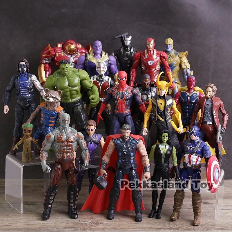 Vingadores Infinito Guerra Figuras de Ação Brinquedos Homem De Ferro Capitão América Hulk Thor Thanos Spiderman Loki Pantera Negra Hulkbuster Y190604