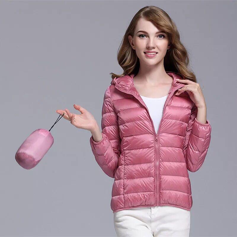 Новый 2019 Ultra Light утка вниз куртка женщин с длинным рукавом Теплый Тонкий с капюшоном Пальто Женщина Плюс размер Осень Зимняя одежда