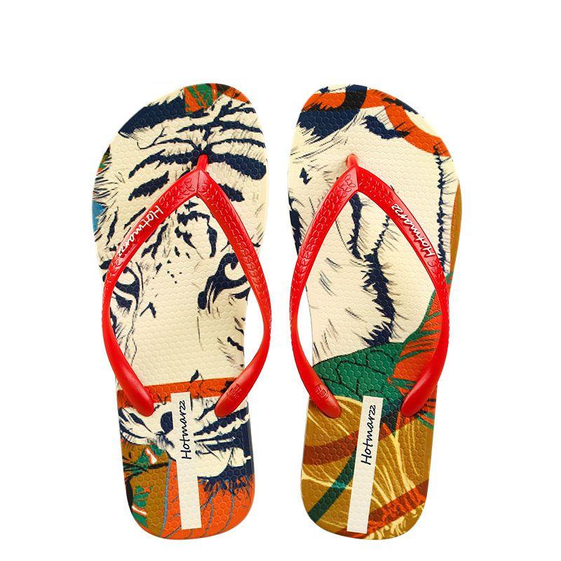 2020 aleta impressão tigre verão sandálias sandálias femininas e chinelos fora desgastado no verão com deslizamento não-sandálias de praia fixados salto plana