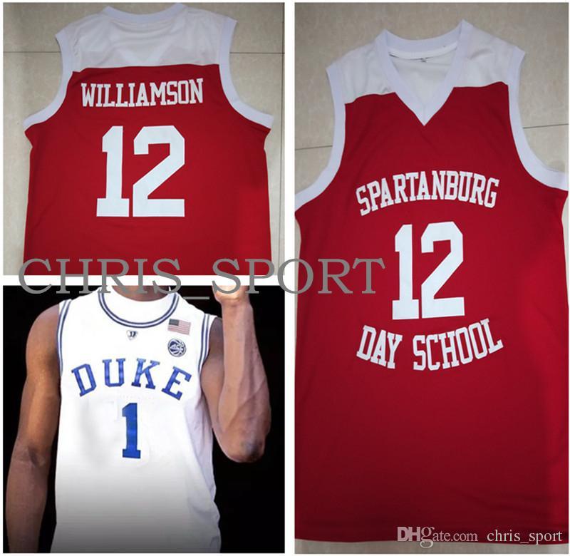 Spartanburg Day School #12 Zion Williamson jerseys Duke college #1 embroidered basketball jerseys custom stitched player uniform