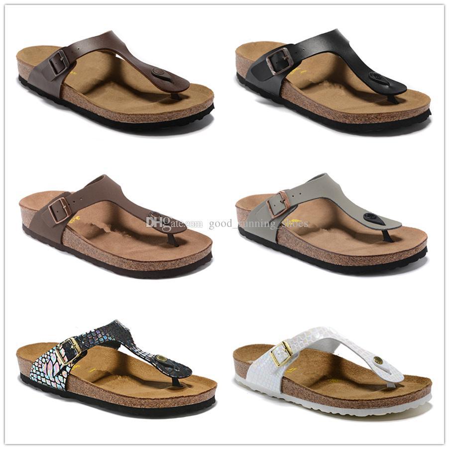 2019 pantoufles Gizeh, homme et femme, sandales à bout ouvert, pantoufles de plage d'été, pantoufles en cuir véritable, pantoufles en liège gratuites SZ34-46