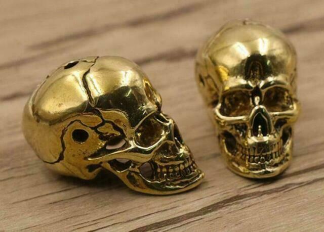 Japan Messing Schädel Anhänger Craft Bead Lanyard Bead Schädel Perlen EDC Solid Brass