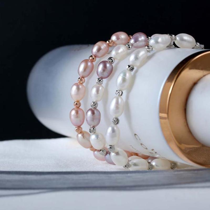 FYJS Einzigartige Rose Gold Farbe Geometrische nachgemachte Perlen-Verbindungs-Kettenarmband für elegante Frauen Schmuck