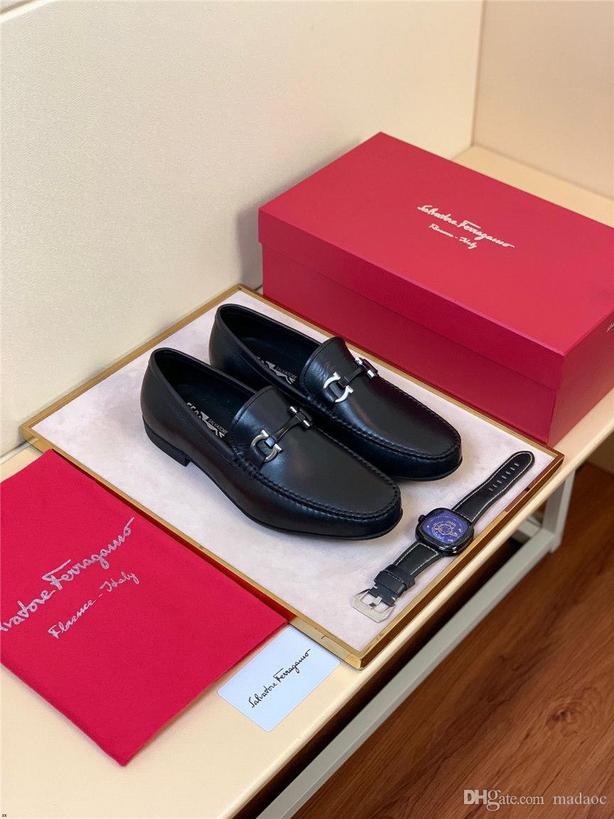 2019 chaussures habillées pour hommes de bureau d'affaires en cuir véritable de luxe chaussures de haute qualité fête de mariage classique horsebit chaussures oxford