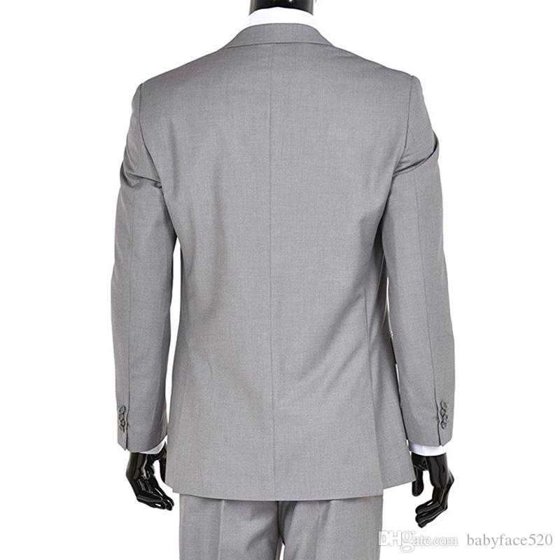 Three Piece Light Gray Men Suits for Wedding Groom Wear Custom Made Jacket Pants Vest Classic Fit Business Prom Tuxedos