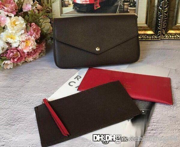 Heiße Art und Weise klassische Frauen-Designer-Tasche drucken Brief 3 in 1-Ketten-Beutel-echtes Leder-Karten-Mappen-Crossbody Geldbeutel-Schulter-Kurier-Beutel Tote