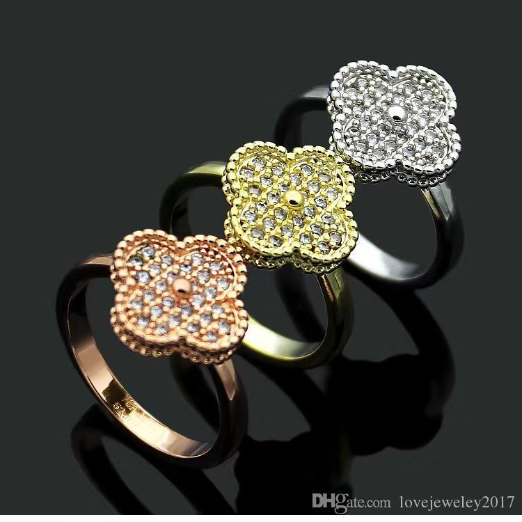 las mujeres de la joyería de lujo de diseño nuevos anillos de plata de cuatro hojas de acero anillo de diamante trébol titanio rosa de 18 quilates de oro los anillos de compromiso de oro para w