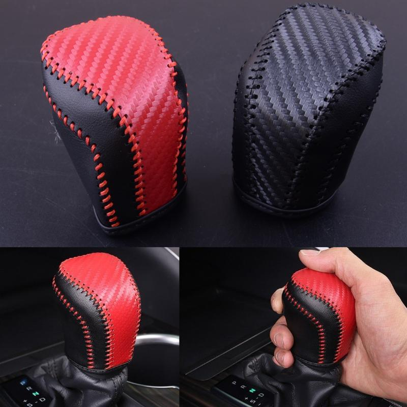 Black leather Holster Car Gear Shift Cover Trim For Toyota Camry 2018 Red