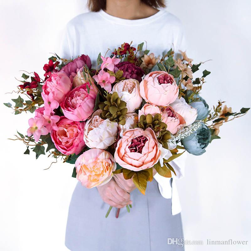 جودة عالية الحرير زهرة الأوروبي 1 باقة زهور اصطناعية سقوط حية الفاوانيا وهمية ليف الزفاف الرئيسية الطرف الديكور