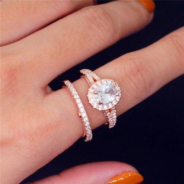 다이아몬드 웨딩와 거위 달걀 모양 반지 14K 로즈 골드는 여성을위한 유럽과 미국의 2 개 인기의 팩 반지
