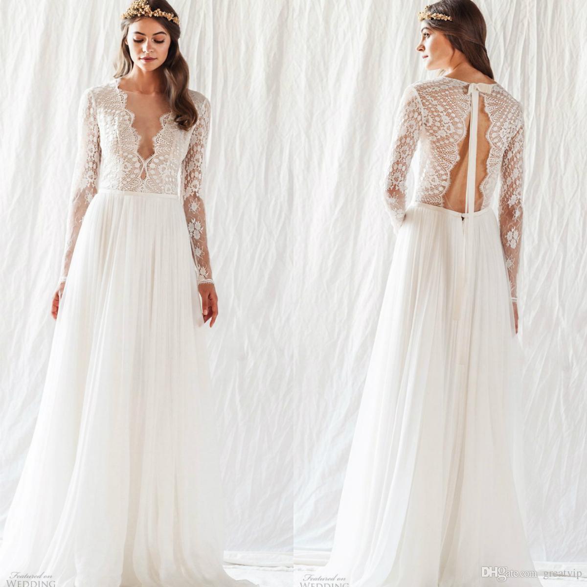 Atelier divino 2019 bohemia chiffon vestidos de casamento de manga longa rendas plus size vestidos de noiva personalizado praia boho vestidos de novia