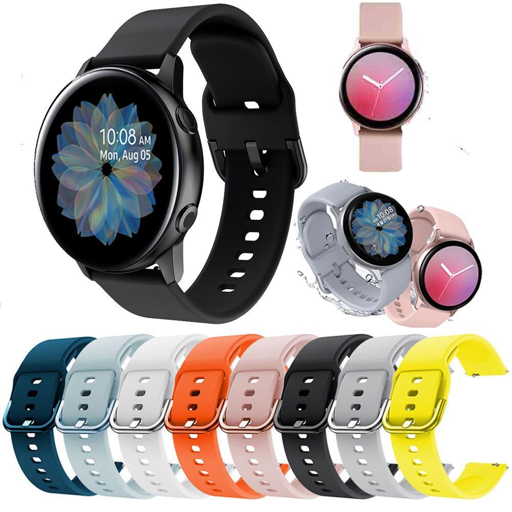 Correa de silicona de 20 mm Pulsera correa para Samsung Galaxy reloj Activo 2 40mm 44mm Deporte banda de goma correa de la muñeca