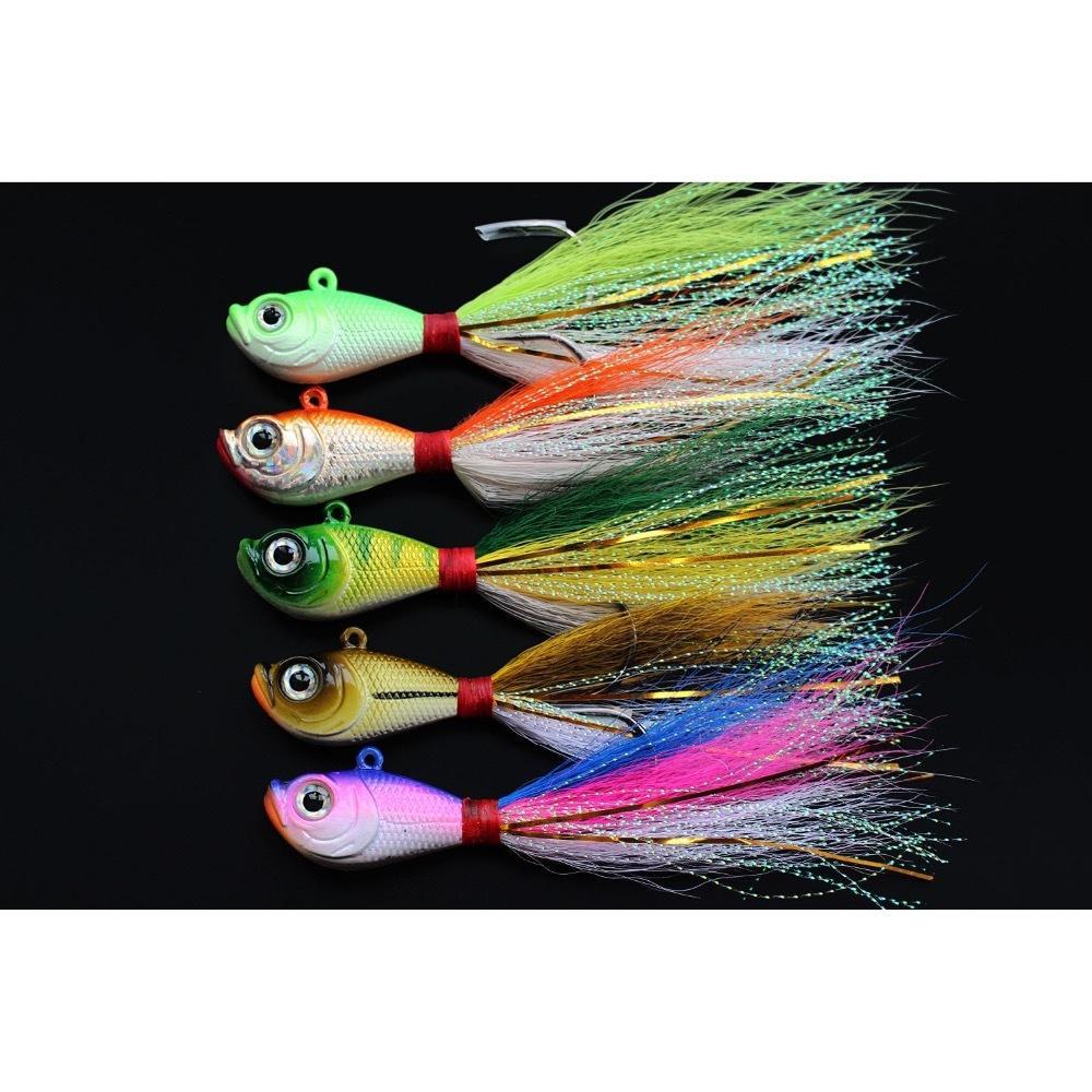 Tigofly 5 pcs/lot 5 colors 14g 28g 56g Lead Head Bucktail Fishing Lure Hook Ice Fishing Bait Teaser Jig Lures Fishing Tackle T200602