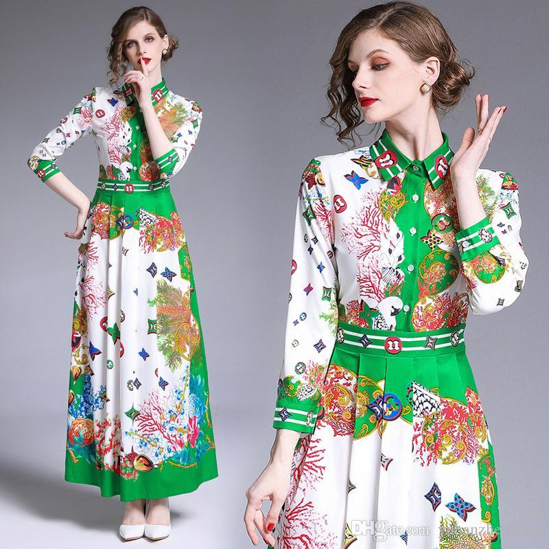 클래식 패션 꽃 프린트 롱 셔츠 드레스 여성 2019 가을 활주로 우아한 숙녀 버튼 긴 소매 A 라인 맥시 파티 캐주얼 드레스