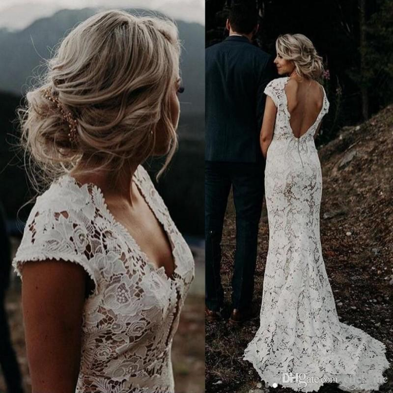 Discount Bohemia Full Lace Wedding Dresses Cap Sleeves Deep V Neck Backless Mermaid Wedding Dress Sexy Back Beach Bridal Gowns Vestidos Summer Wear Wedding Dresses Brand Wedding Dresses Bride From Click Me 125 44