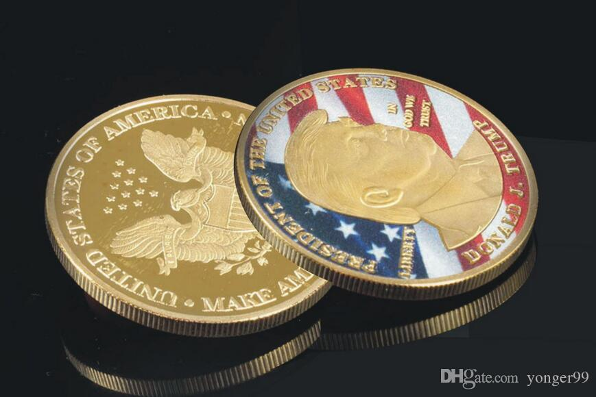 New American 45th President Donald Trump Commemorative Coin United States President Avatar Gold Coins Silver Badge Metal Craft Collection