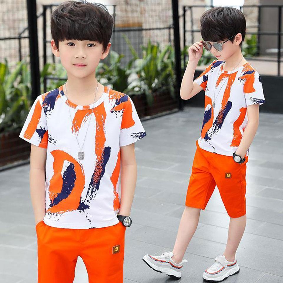 새로운 S 키즈 아기 소년 옷 탑스 T 셔츠 + 짧은 바지 복장 세트 소년 의류 나이 3T 4 5 6 7 8 9 10 11 12 YRS 2 색상
