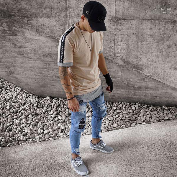 Pantalon Pantalones de Mens Jeans automne Biker Ripped Printemps Nouveau Designer Slim Fit Jean