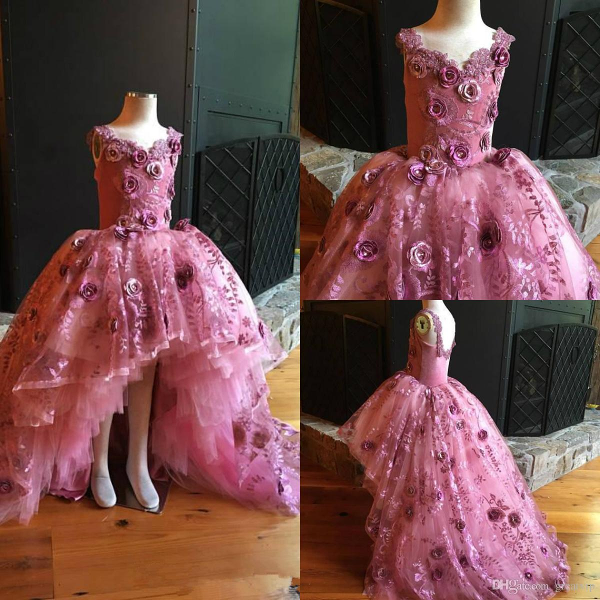 Pink Handmade Flowers Girls Pageant Dresses Lace Applique Puffy High Low Princess First Communion Gowns For Wedding Evening Party Dress