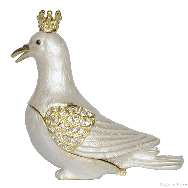 White Pigeon Trinket Storage Box Jewelry Container Ring Box Dove Bird Figurine Gift Figurine Ring Container Creative Gift