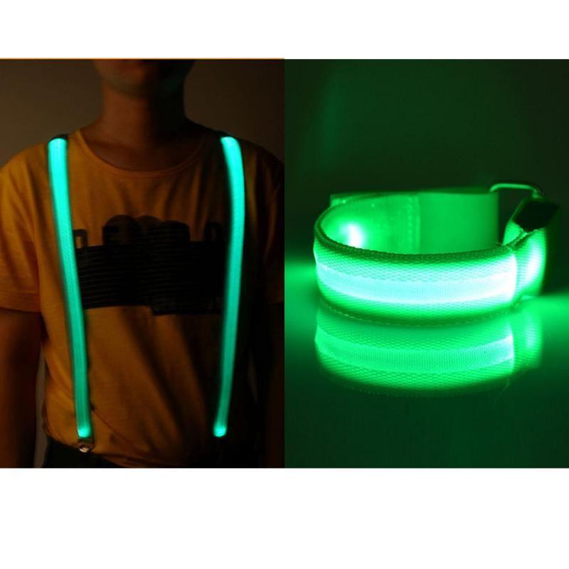 Regolabile Bracciale braccio cinghia della fascia Glow braccialetto Led lampeggiante bretelle della bretella Per esterni Notte Ciclismo esecuzione Equitazione