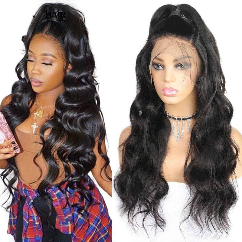 360 парик фронта шнурка предварительно сорванный с волосами младенца парики фронта шнурка человеческих волос Remy бразильские парики волос плотность 180%