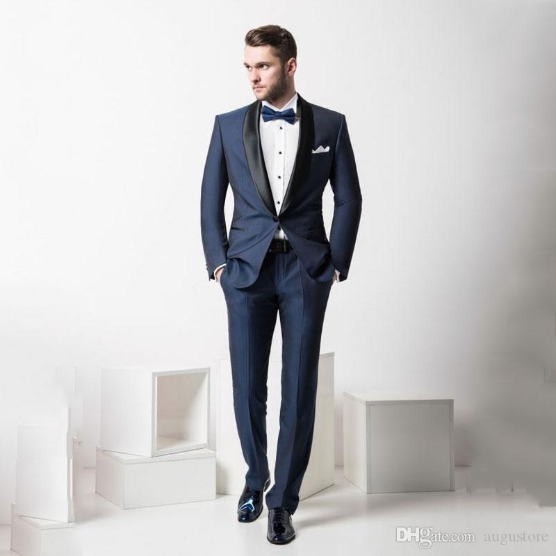 Son Tasarımlar Lacivert Damat Smokin Erkekler Düğün için Suits Siyah Şal Yaka Erkekler Kıyafetler 2 Adet Slim Fit Kostüm Homme Terno Masculino
