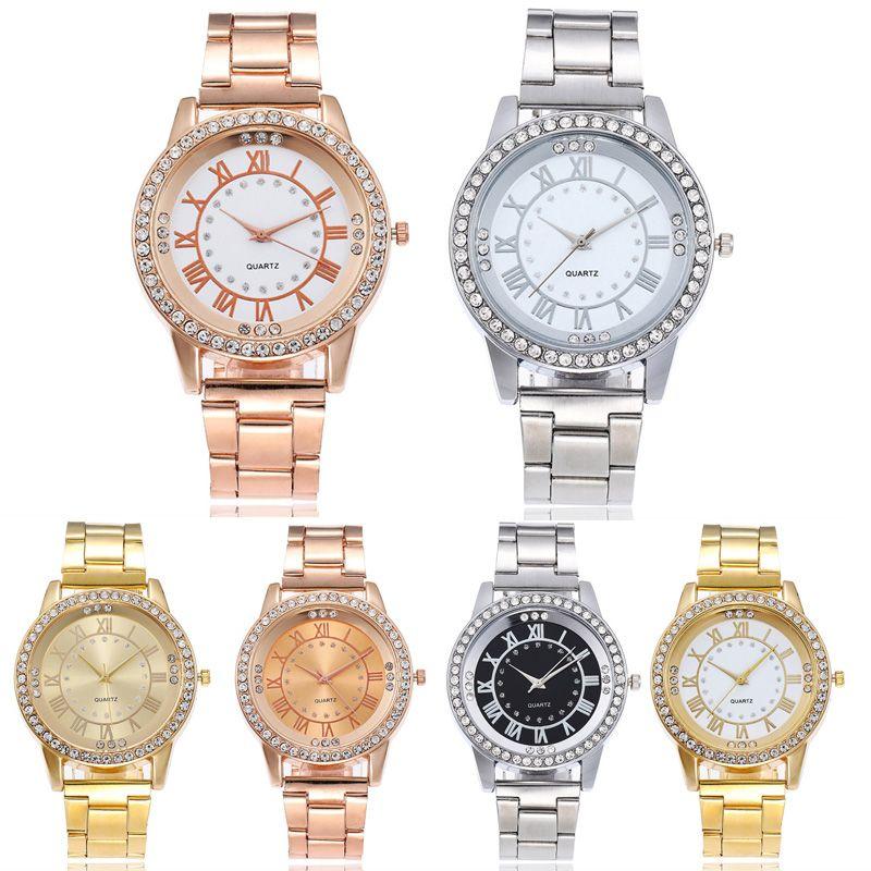 6 estilos de cristal Escala Roman Aço inoxidável liga analógico Quartz relógios de pulso de aço Presentes Banda relógios para as mulheres e homens