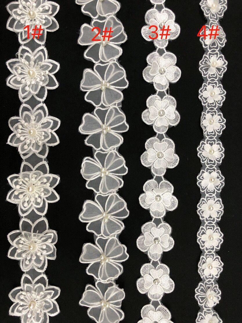 White Pearl Flower tessuto ricamato in pizzo Copribordi nastro di cerimonia nuziale ricamato di Applique Passamanerie mestiere di cucito decorazione Dress bambino