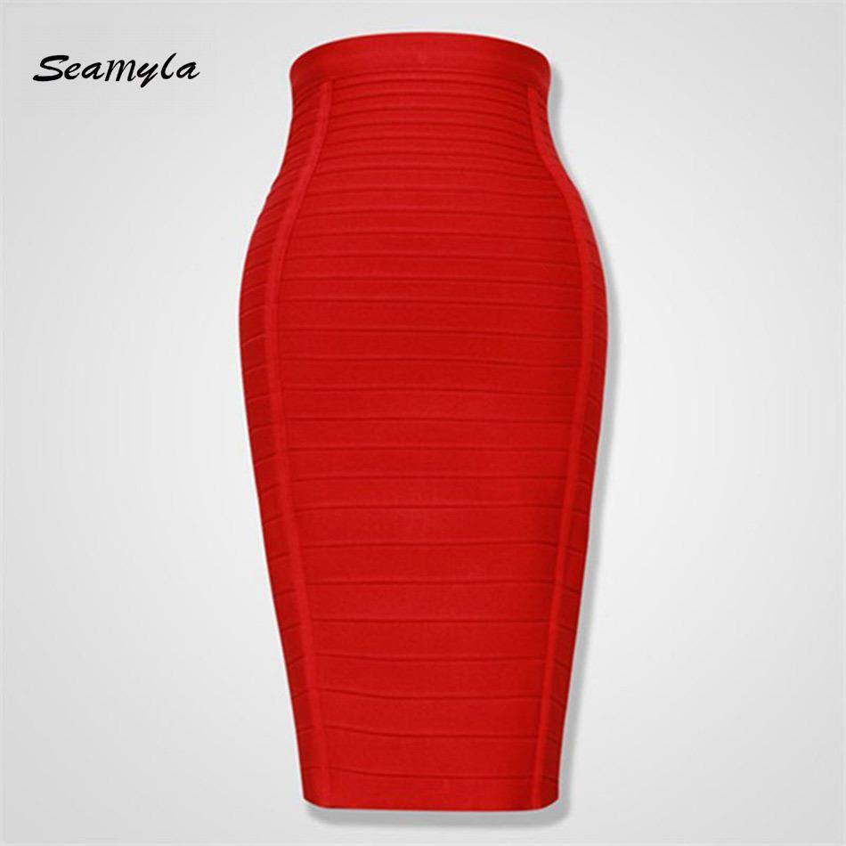 Seamyla 2019 Lápiz Faldas Mujeres Rojo Azul Negro Naranja Bodycon Vendaje Falda Sexy Longitud de la rodilla A rayas Midi Club de cintura alta Y19043002