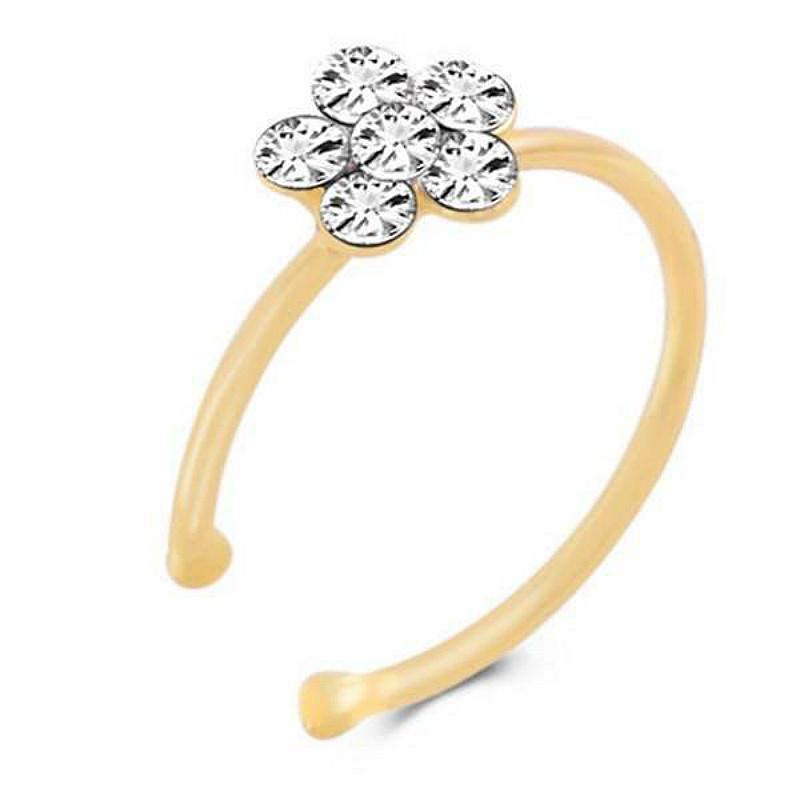 Lotus Titanium Nose Ring Silver Gold Body Clip Hoop Women Septum Piercing Clip 2019