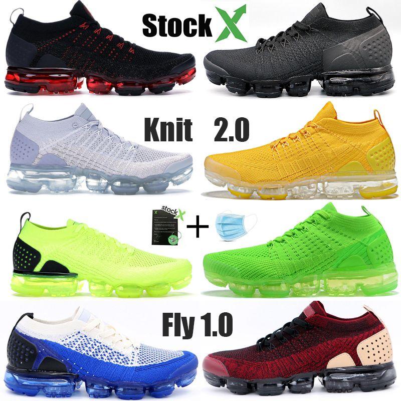 nike vapormax flyknite 2019 Knite 2.0 1.0 Hombres Zapatos para correr CNY Tiger Team Red Obsidian Triple Black White Thunder Grey Designer Sneaker Trainers 36-45