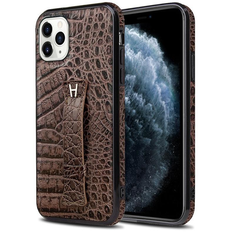 Pour Iphone 11 x xr pro xs max 8 7 6 2020 SE motif de tête couvercle du boîtier de téléphone cellulaire en cuir alligator crocodile avec porte-béquille