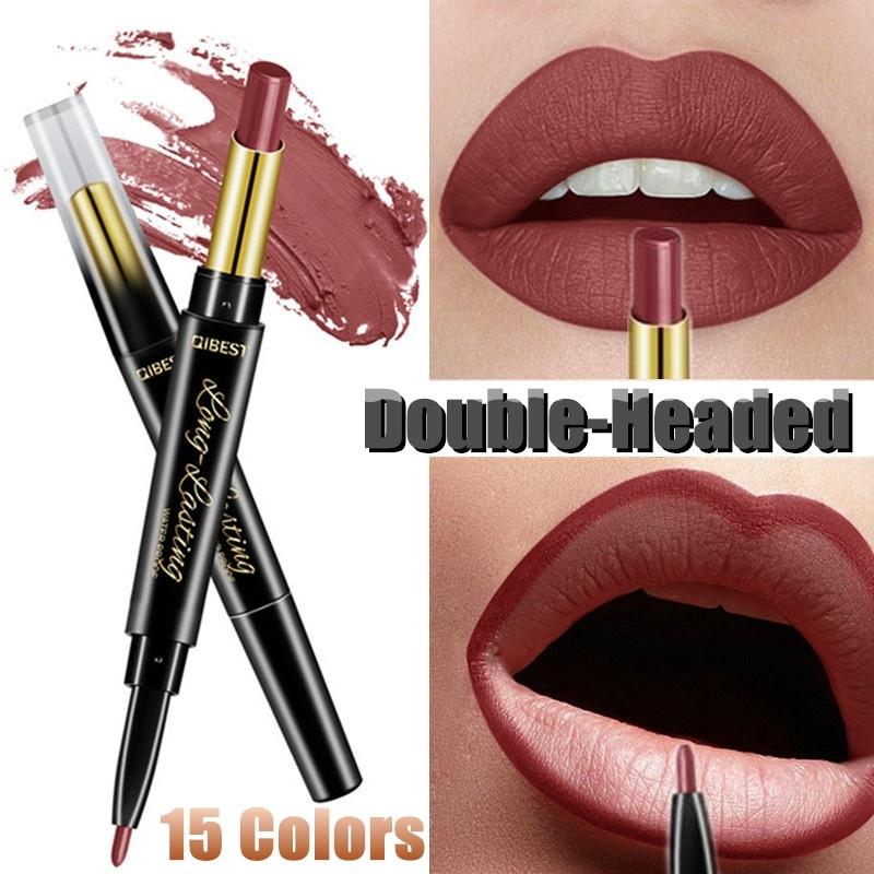 1 Pc Double-head Ended Makeup Waterproof Matte Long Lasting Lip Liner Pencil liquid lipstick lipstick matte long lasting