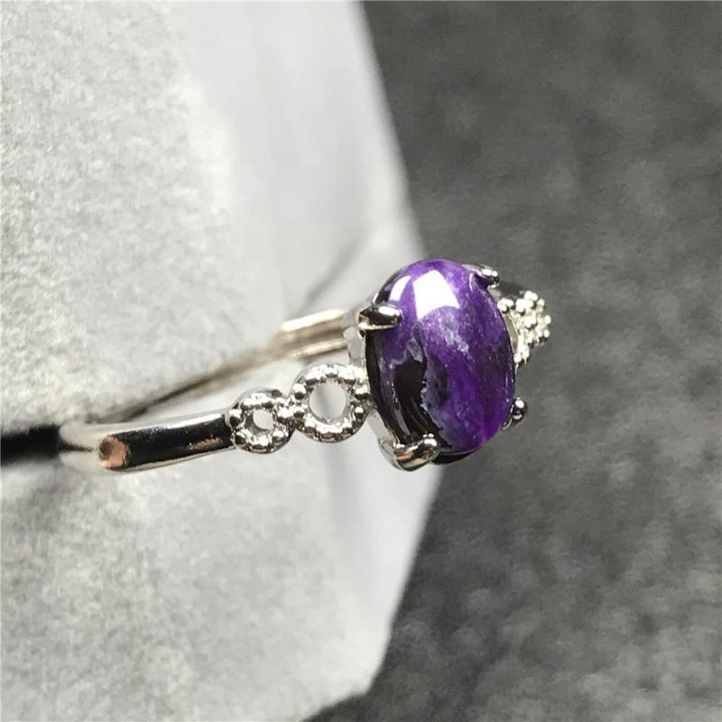 7x5mm Genuine Natural Royal Lila Sugilite Ring für Frauen-Dame Kristall-Korn-Stein Silber Mode-justierbare Ring-Schmuck