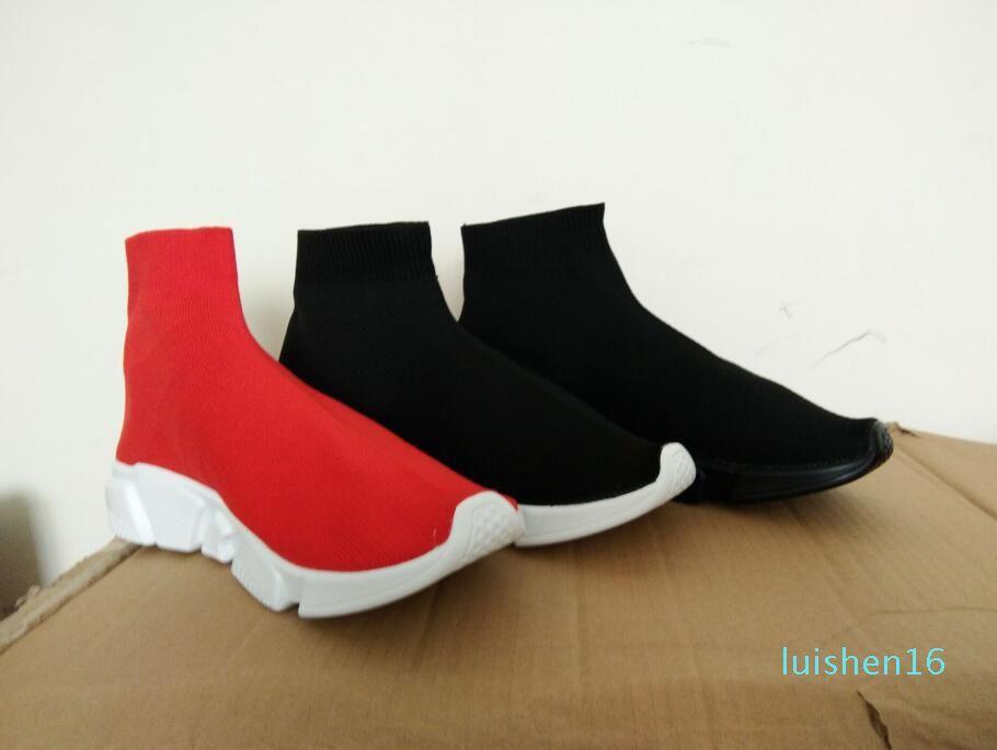 Unisex Günlük Ayakkabılar Moda Çorap Çizme Kırmızı Gri Üçlü Siyah Beyaz Stretch Mesh Yüksek Top Sneaker Hız Eğitmen Runner L16