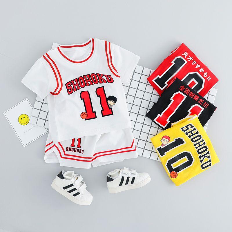 2019 Summer Boy Vêtements de sport tout-petits Vêtements Set Enfants Football Uniformes Vêtements de basket-ball garçons T-shirt Costume enfants Vêtements CY200516