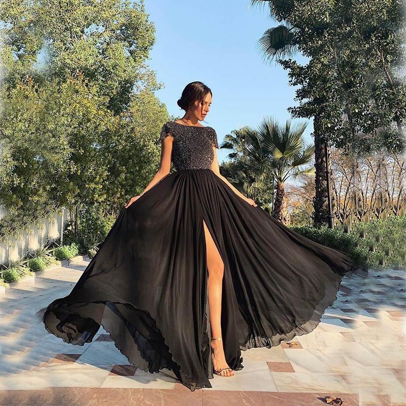 1PCS New Dress Eclats robe en mousseline de soie Robes de bal col rond de couleur unie