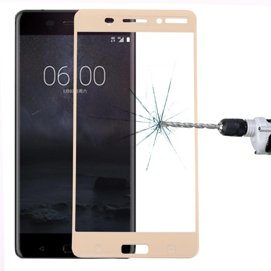 For Nokia 6 0.3mm 9H Surface Hardness 2.5D Curved Silk-screen Full Screen Tempered Glass Screen Protector