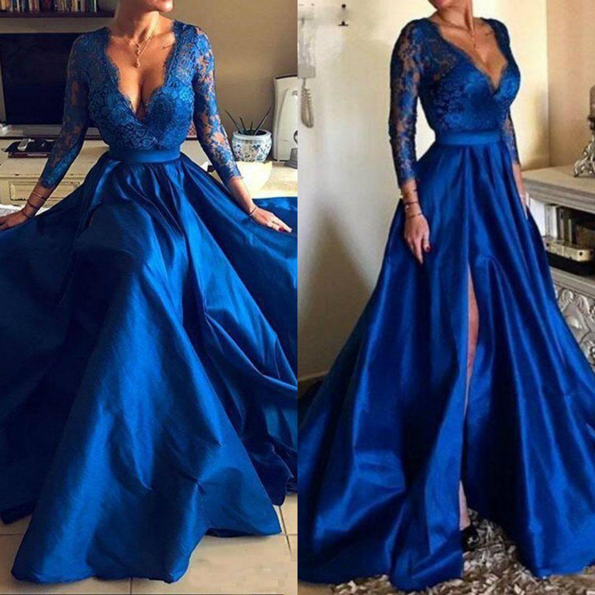 2019 Royal Blue Mother of the Bride Dresses Plus Size V Neck Lace Appliques Long Sleeve Formal Front Split Evening Gowns Vestidos