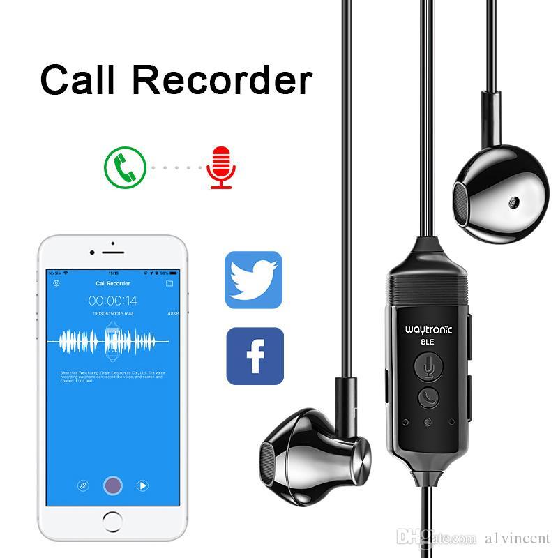 Teléfono Call Recorder auriculares HD de grabación de voz 200mAh batería Audífonos monitor de control APP