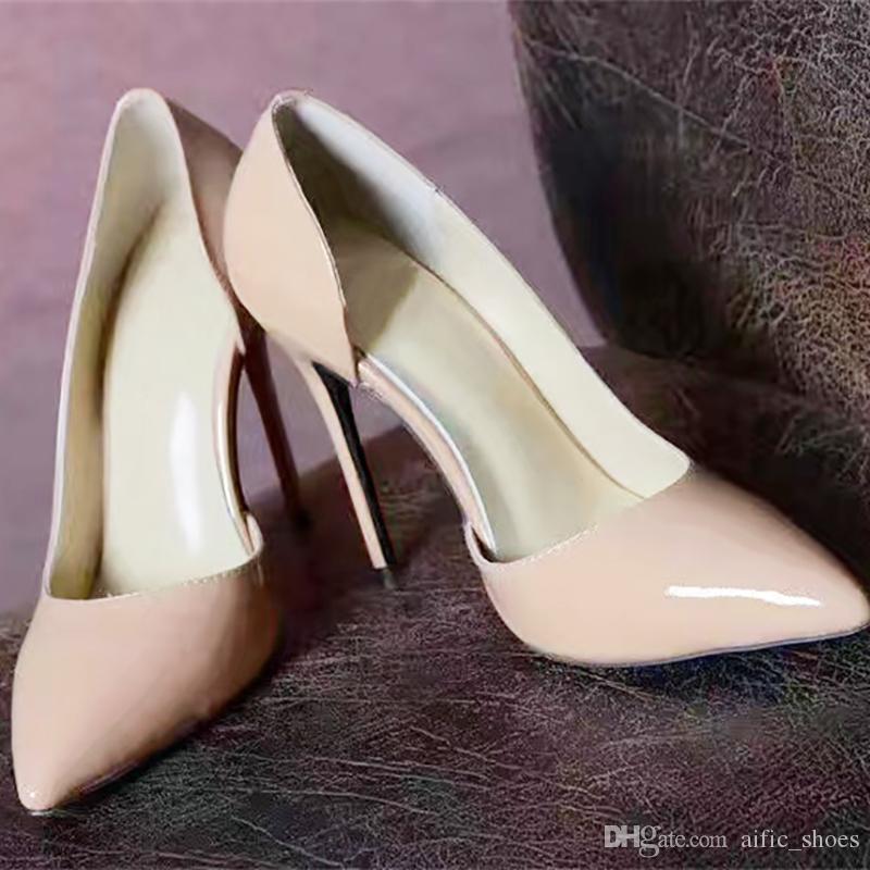 Туфли на шпильках Женская обувь Бренд Red Bottom Высокие каблуки Лакированная кожа Туфли с острым носом Роскошные туфли с мелким ртом и красной подошвой
