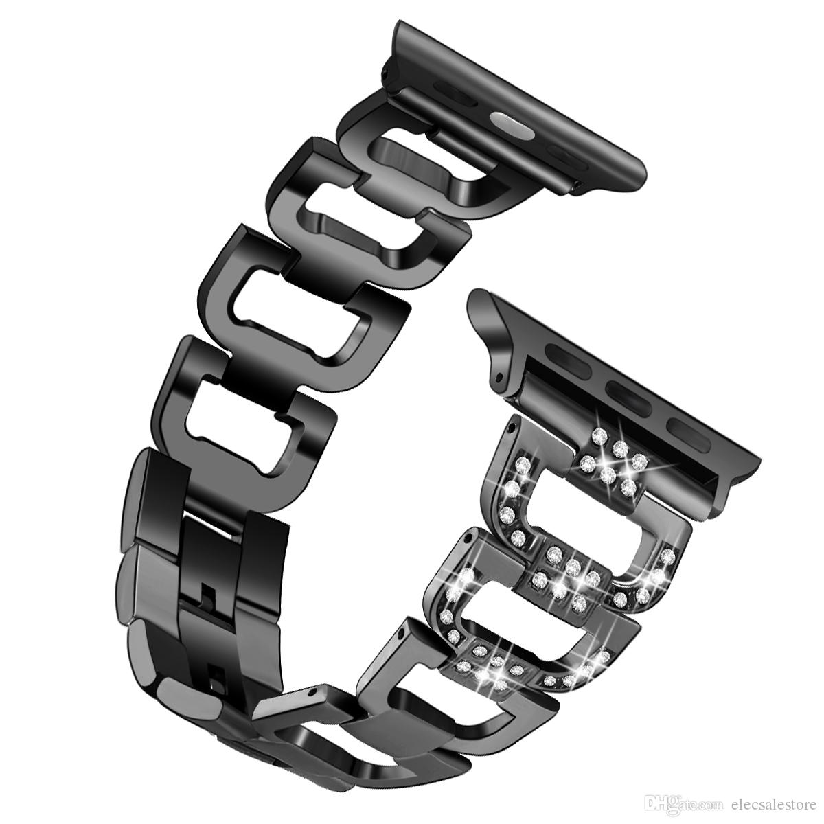 Bandas Rhinestone Diamante relógio para Apple Watch 4 3 2 1 38 milímetros / 40 milímetros 42 milímetros / 44 milímetros de aço inoxidável banda de metal Correias 82002