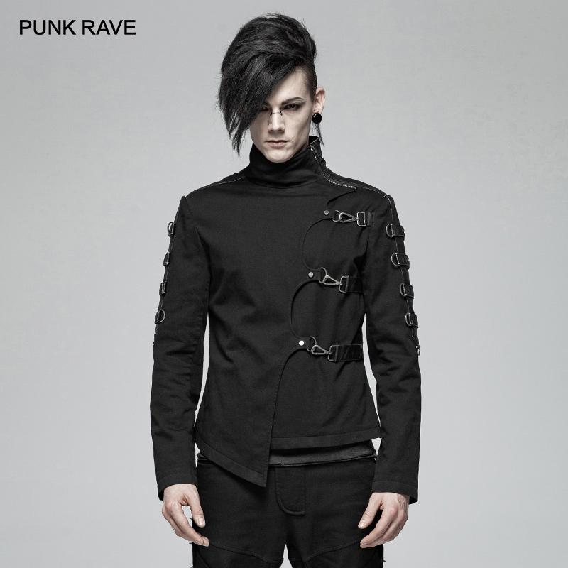 PUNK RAVE New Men's Punk Handsome Asymmetric Twill Short Coat Fashion Casual Jacket Both Sides Sleeve Stitching The PU Leather