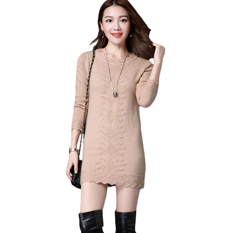 2019 Autumn Winter Women Long Sweaters Women\'S Loose Bottoming Round Neck  Lace Sweater Dress Female Plus Size Sweater Dresses A1082 From Sweet59, ...